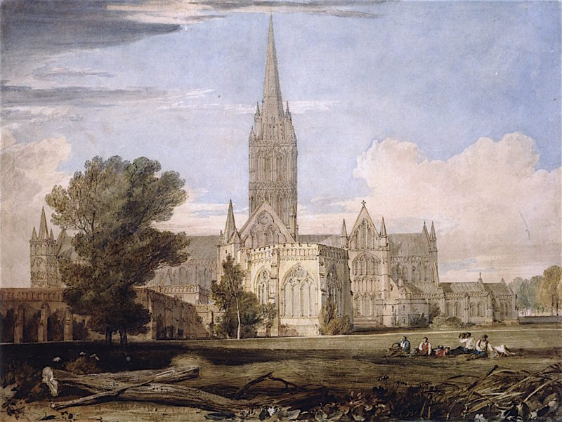 A General View of Salisbury Cathedral from the Bishops Garden   Joseph Mallord William Turner   oil painting