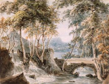 A Wooded Stream with a Waterfall near a Bridge | Paul Sandby