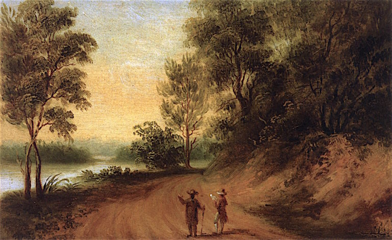 View of Road along River al Mulberry | Thomas Coram | oil painting