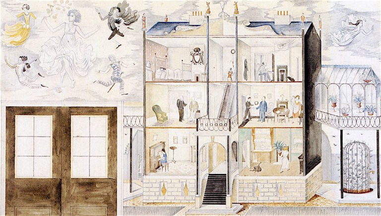 A Lodging House (study for Morley College mural) | Eric Ravilious | oil painting