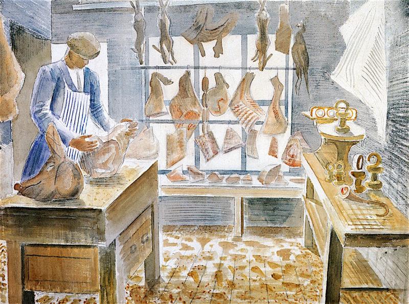 The Butchers Shop   Eric Ravilious   oil painting