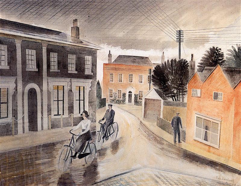 Village Street   Eric Ravilious   oil painting