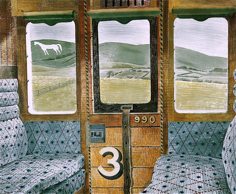 Train Landscape   Eric Ravilious   oil painting