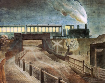 Train Going over a Bridge at Night | Eric Ravilious | oil painting