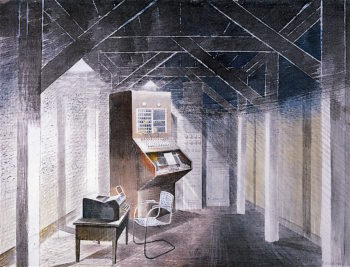 The Teleprinter Room | Eric Ravilious | oil painting