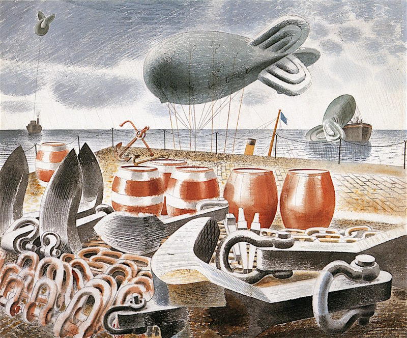 Barrage Balloons at Sea   Eric Ravilious   oil painting