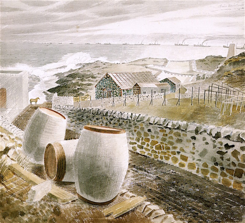 Convoy Passing an Island (May Island) | Eric Ravilious | oil painting