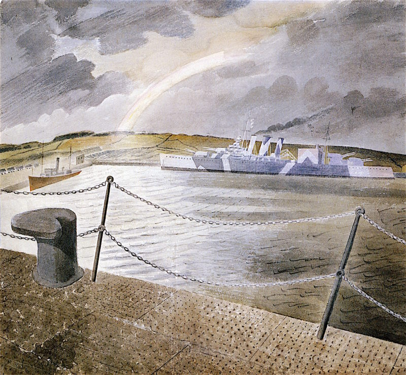 Rainbow and Camouflaged Ship | Eric Ravilious | oil painting