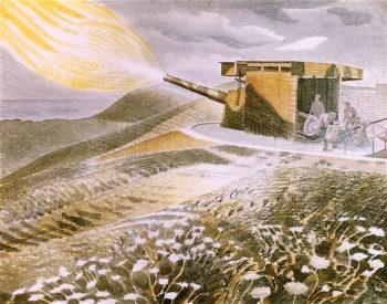 Firing a 9.2 Gun | Eric Ravilious | oil painting