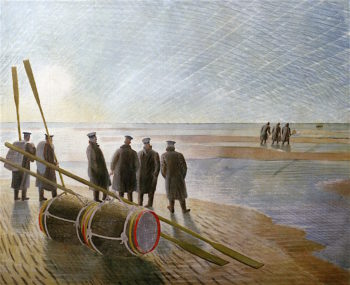 Dangerous Work at Now Tide | Eric Ravilious | oil painting
