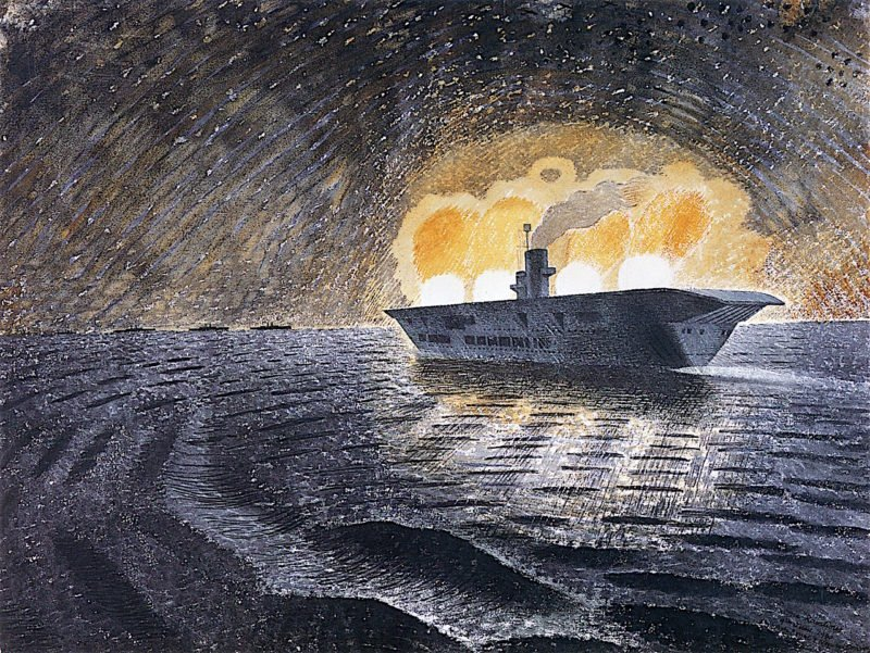 HMS Ark Royal in Action   Eric Ravilious   oil painting