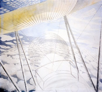 View from the cockpit of a Moth | Eric Ravilious | oil painting