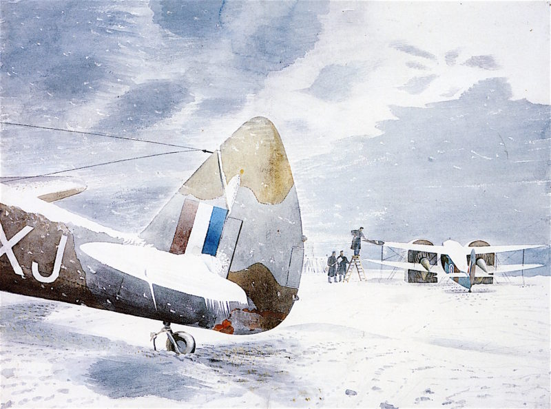 De - icing Aircraft | Eric Ravilious | oil painting