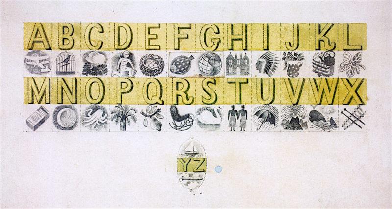 Design for Wedgwood Alphabet Mug | Eric Ravilious | oil painting