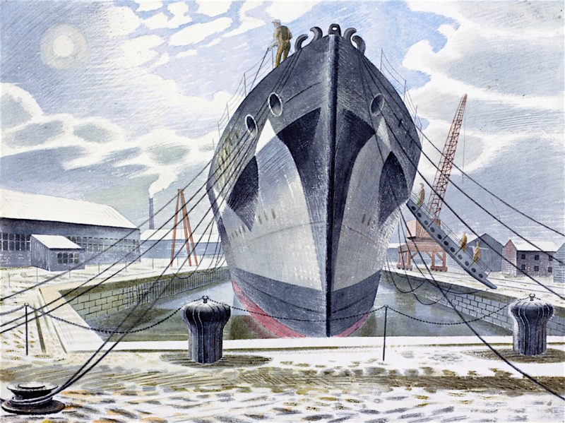 A Warship in Dock | Eric Ravilious | oil painting