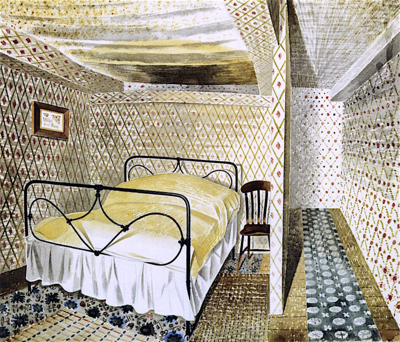 A Farmhouse Bedroom | Eric Ravilious | oil painting