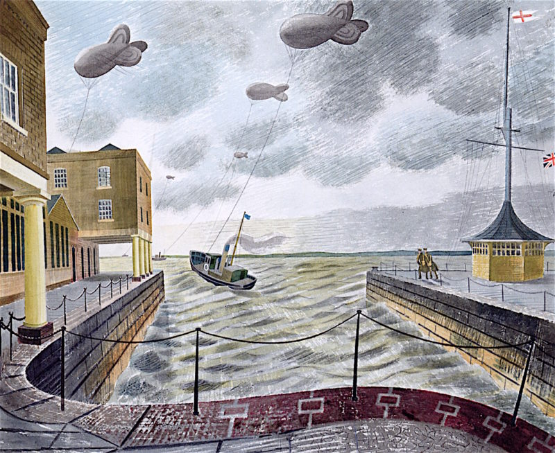 Barrage Balloons outside a British Port | Eric Ravilious | oil painting
