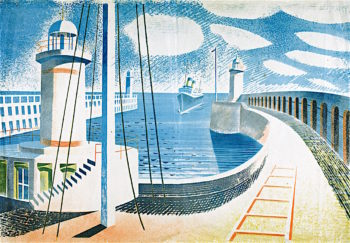 Newhaven Harbour   Eric Ravilious   oil painting