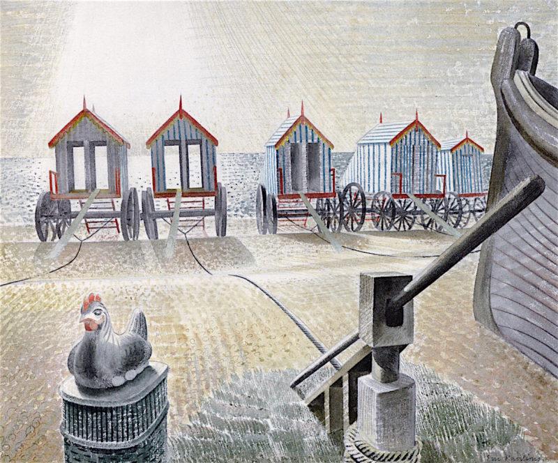 Bathing Machines | Eric Ravilious | oil painting