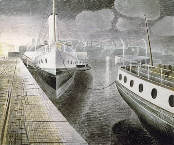Paddle Steamers at Night | Eric Ravilious | oil painting