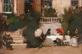 Mrs. Naughton of Naughton at Tea | Arthur Melville | oil painting