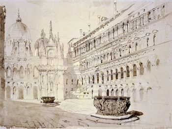 Court of the Ducal Palace Venice | John Ruskin | oil painting