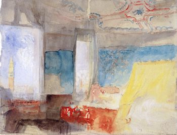 Turners Bedroom in the Palazzo Giustinian (the Hotel Europa) | Joseph Mallord William Turner | oil painting