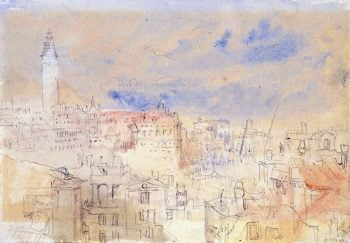 View over Rooftops towards the Giardini Realm and the Campanile of San Marco | Joseph Mallord William Turner | oil painting