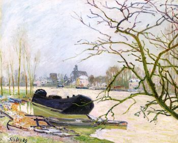 The Flood of the Loing at Moret | Alfred Sisley | oil painting