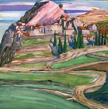A Hill Town in Southern France | Charles Rennie MacKintosh | oil painting