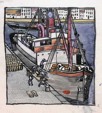 Men Unloading a Steamer at the Quayside | Charles Rennie MacKintosh | oil painting
