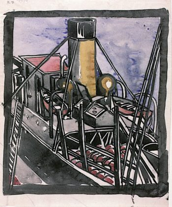 Steamer at Quayside | Charles Rennie MacKintosh | oil painting