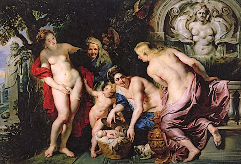 The Daughters of Cecrops Finding the Child Erichthonius | Peter Paul Rubens | oil painting