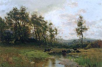 Landscape with Cattle   Arthur Parton   oil painting
