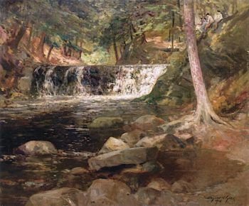 Forest Interior with Stream and Waterfall | Bayard Henry Tyler | oil painting