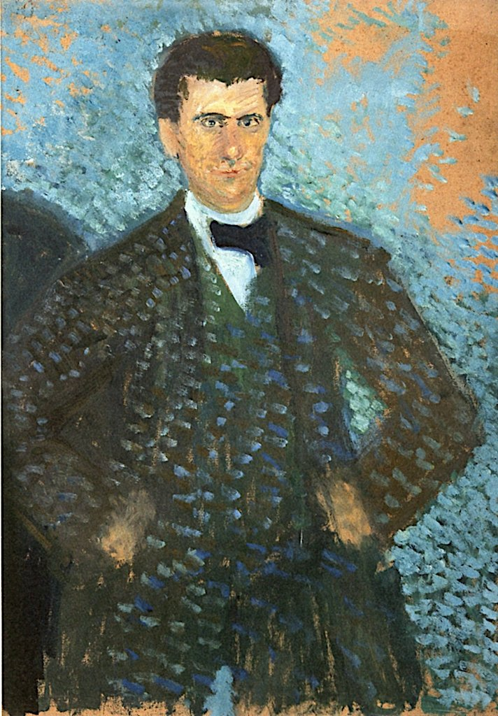 Self - Portrait in front of Blue - Green Background | Richard Gerstl | oil painting