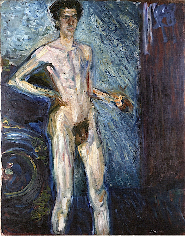 Nude Self - Portrait with Palette | Richard Gerstl | oil painting
