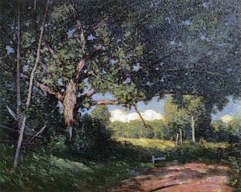 The Spreading Oak   Julian Alden Weir   oil painting