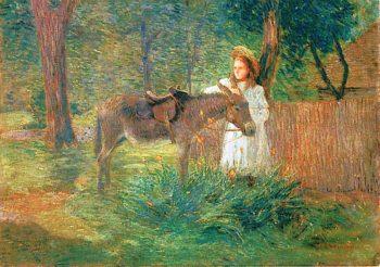 A Visiting Neighbor   Julian Alden Weir   oil painting