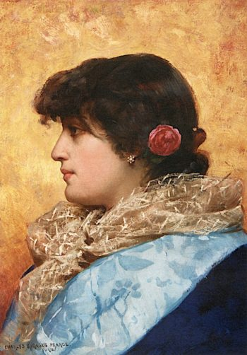 The Blue Shawl | Charles Sprague Pearce | oil painting