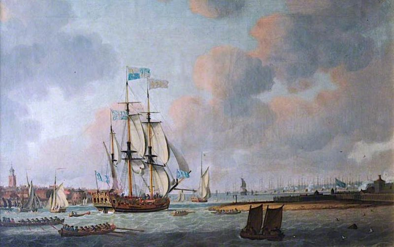 British Warship Leaving Portsmouth Harbour   Dominic Serres   oil painting