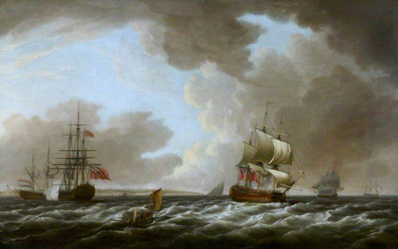 A Dutch Ship Saluting an English Flagship   Dominic Serres   oil painting