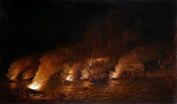 French Fire - Ships Attacking the English Fleet off Quebec