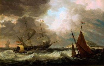 Ships in a Gale | Dominic Serres | oil painting
