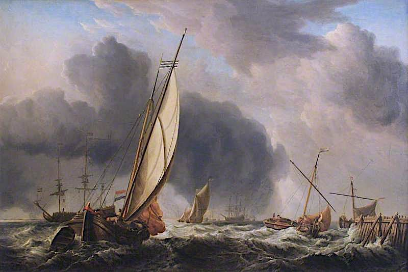 fishing boats and man o war in a breeze at the mouth of a river