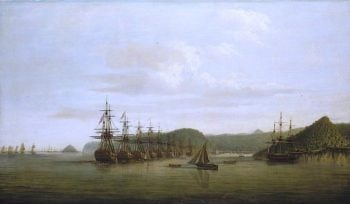 Barringtons Action at St Lucia -  The Squadron at Anchor off the Cul de Sac after the Action | Dominic Serres | oil painting