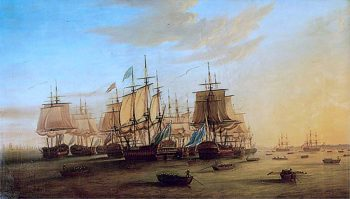 The English Fleet at Madras | Dominic Serres | oil painting