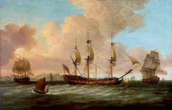 The East Indiaman Pitt and Other Vessels | Dominic Serres | oil painting