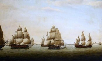 An English Frigate Chased by the French off the Indian Coast | Dominic Serres | oil painting