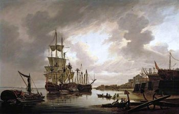 British Men - of - War at Anchor in Blackwall Reach | Dominic Serres | oil painting